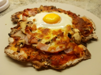Pizza with bacon and egg!