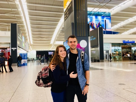 At Heathrow the day we left London to move to Dubai!